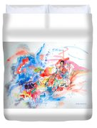 Geisha On Mountain Top Duvet Cover
