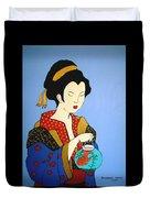 Geisha With Fish Duvet Cover