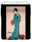 Geisha With Guitar Duvet Cover