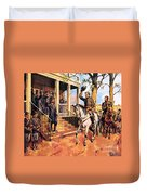 General Lee And His Horse 'traveller' Surrenders To General Grant By Mcconnell Duvet Cover
