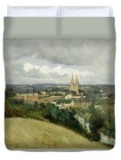 General View Of The Town Of Saint Lo Duvet Cover