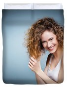 Geniue Portrait Of A Young Positive, Smiling Girl. Duvet Cover