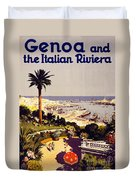 Genoa And The Italian Rivera Vintage Poster Restored Duvet Cover