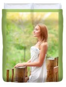 Gentle Woman On Terrace Duvet Cover