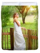 Gentle Woman Standing On The Porch  Duvet Cover