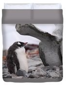 Gentoo Penguin Chick Under Whale Vertebrae Duvet Cover