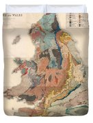 Geological Map Of England And Wales - Historical Relief Map - Antique Map - Historical Atlas Duvet Cover