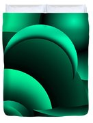 Geometric Abstract In Green Duvet Cover