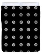 Geometric Sunflowers Black White Duvet Cover