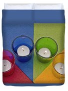 Geometrical Shapes, Colours And Candles Duvet Cover