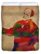 George Constanza Of Seinfeld Watercolor Portrait Duvet Cover
