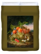George Forster  Still Life With Fruit And A Birds Nest Duvet Cover