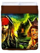 George Washington And Abraham Lincoln The Pirates Duvet Cover