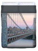 George Washington Bridge And Lighthouse I Duvet Cover