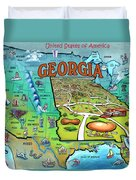 Georgia Usa Cartoon Map Duvet Cover