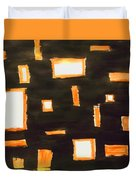 Geosequence In Black And Copper Duvet Cover