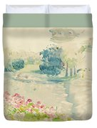 Geraniums By The Lake Duvet Cover