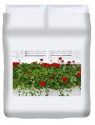 Geraniums On Window Duvet Cover by Elena Elisseeva