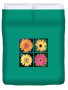 Gerbera Daisy Collage In Square Duvet Cover