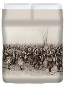 German And Austrian Soldiers Marching Duvet Cover