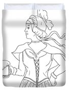 German Barmaid Serving Beer Drawing Duvet Cover