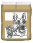 German Shepherd And Pup Duvet Cover