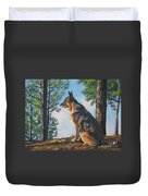 German Shepherd Lookout Duvet Cover by Lee Ann Shepard