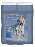 German Shepherd White In Snow Duvet Cover by Lee Ann Shepard