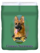 German Shepherd With Name Logo Duvet Cover