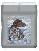 German Shorthaired Pointer In The Snowdrift Duvet Cover