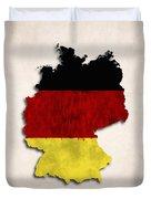 Germany Map Art With Flag Design Duvet Cover