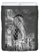 Gherkin And St Andrew's Black And White Duvet Cover
