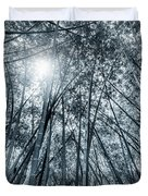 Giant Bamboo In Forest With Sunflare, Black And White Duvet Cover