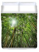 Giant Bamboo In Forest With Sunflare Duvet Cover