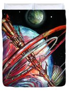 Giant, Old Red Space Shuttle Of Alien Civilization Duvet Cover