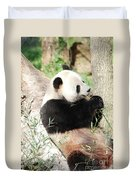 Giant Panda Bear Leaning Against A Tree Trunk Eating Bamboo Duvet Cover