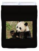 Giant Panda Feeding Himself Shoots Of Bamboo  Duvet Cover