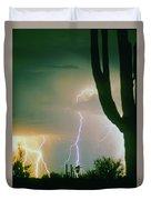 Giant Saguaro Cactus Lightning Storm Duvet Cover