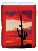 Giant Saguaro  Southwest Desert Sunset Duvet Cover