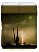 Giant Saguaro Southwest Lightning  Peace Out  Duvet Cover