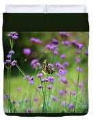 Giant Swallowtail Butterfly In Purple Field Duvet Cover