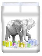 Gift Wrapping Elephant Duvet Cover