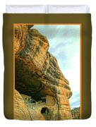 Gila Cliff Dwellings Looking Up Duvet Cover