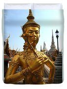Gilded Statue Of A God At The Grand Duvet Cover