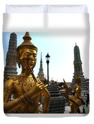 Gilded Statues Of Gods At The Grand Duvet Cover