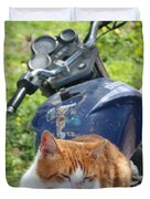 Ginger And White Tabby Cat Sunbathing On A Motorcycle Duvet Cover