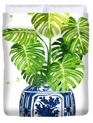 Ginger Jar Vase 1 With Monstera Duvet Cover