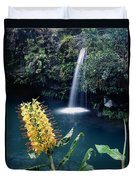 100638-ginger Lily And Hawaiian Waterfall  Duvet Cover