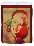 Ginger Rogers Watercolor Portrait Duvet Cover