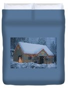 Gingerbread House In Snow Duvet Cover